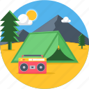 camp, camping, evening, holiday, outdoor, picnic, tent icon