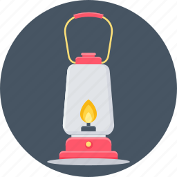 camp, camping, fire, flame, lamp, lantern, light icon