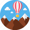 air balloon, hill, hills, hot air balloon, mountain, ride icon