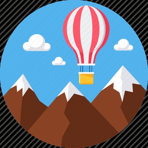 air balloon, hill, hills, hot air balloon, mountain, ride icon
