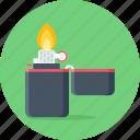 camping, fire, flame, light, lighter, zippo