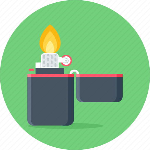 camping, fire, flame, light, lighter, zippo icon