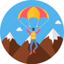 parachute, paragliding, game, sport, sports icon