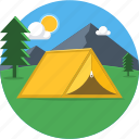 camp, camping, outdoor, outdoors, sun, sunrise icon