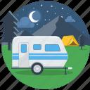 bus, moon, night, parking, stars, travel, van