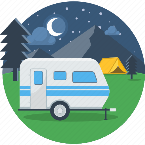 bus, moon, night, parking, stars, travel, van icon