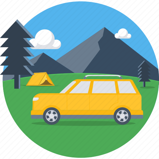 auto, car, hill, road, transport, travel, vehicle icon
