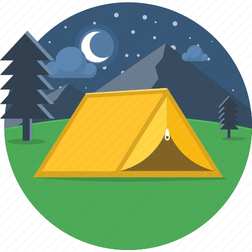camp, camping, moon, night, outdoor, stars, tent icon