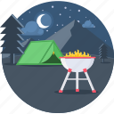 campfire, fire, holiday, tent, night, stars