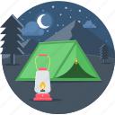 camp, camping, lantern, light, moon, night icon