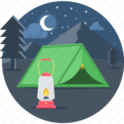 camp, camping, lantern, light, moon, night icon