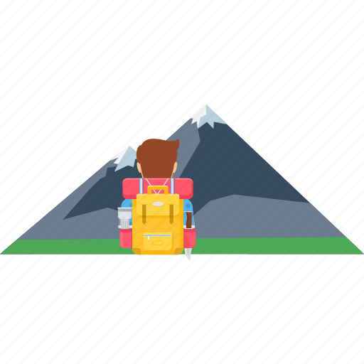 backpack, hill, holiday, image, mountain, scenery, vacation icon
