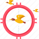 bird, focus, hunt, hunting, shoot, sparrow, target icon