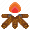 bonfire, camp, campfire, fire, flame, light, outdoor icon