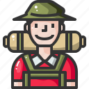 avatar, camping, emoticon, emotion, face, smile, traveller icon