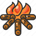 adventure, bonfire, burn, camping, fire, flame, outdoor icon