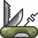 camping, construction, equipment, knife, outdoor, swiss, tool icon