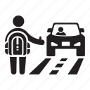 backpacker, car, hitcher, road, tourist, travel, traveler