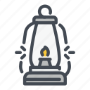 camp, fire, flame, lamp, lantern, light, oil icon