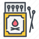 camp, fire, flame, matchbox, matches, matchstick, spark icon
