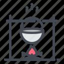 bonfire, bowler, camp, campfire, cook, fire, outdoor icon