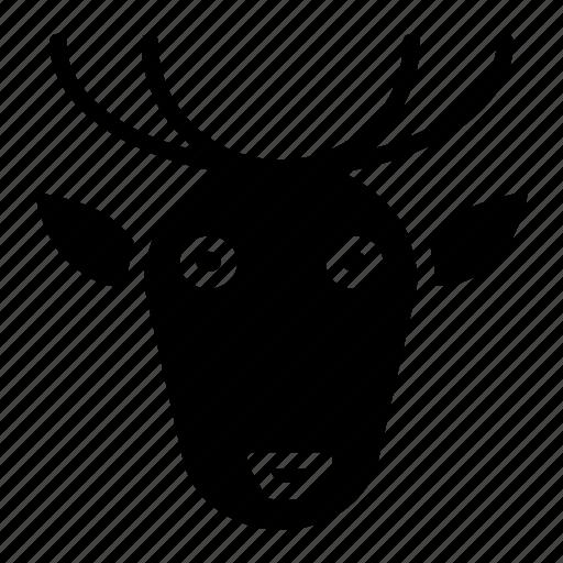 animal, deer, face, head, throne, winter icon