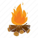 campfire, cartoon, fire, flame, heat, hot, outdoor icon