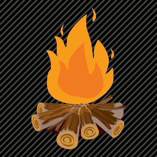 campfire, cartoon, fire, flame, heat, hot, outdoor icon