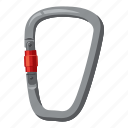 carabiner, cartoon, climbing, equipment, extreme, mountain, safety icon