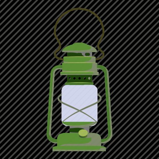 cartoon, flame, kerosene, lamp, lantern, metal, oil icon