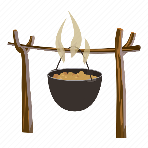 camp, cartoon, fire, flame, food, pot, soup icon