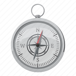 cartoon, compass, east, map, north, south, travel icon