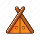 browm, camp tent, camping, wood icon
