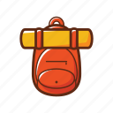 bag, bag packer, camping, orange, school, yellow icon