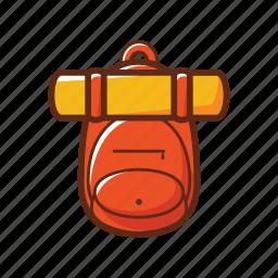 bag, bag packer, camping, orange, school, yellow icon