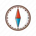 arrow, camping, circle, compass, direction, move, navigation icon