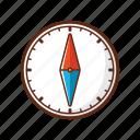 arrow, camping, circle, compass, direction, move, navigation