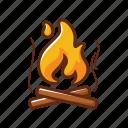 camp fire, camping, cross, fire, wood, burn, flame
