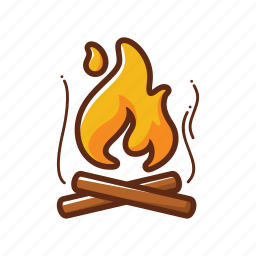 burn, camp fire, camping, cross, fire, flame, wood icon