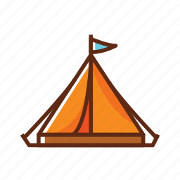 brown, camping, flag, tent, triangle icon