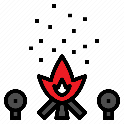 camping, fire, flame, light, wood icon