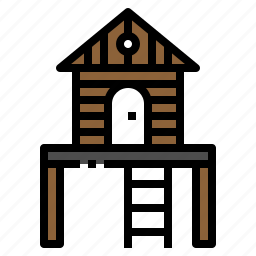 bungalow, camping, house, tavern, tree icon
