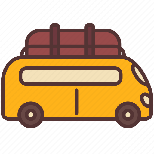 backpacker, camping, car, relax, transport, travel, van icon