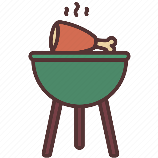 bbq, camp, cooking, fire, food, meat, party icon