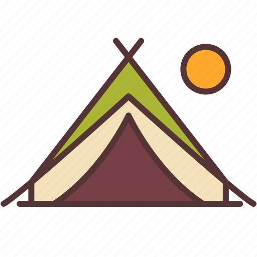 camp, camping, moon, outdoor, sleep, tent, travel icon