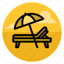 beach, lounge chair, shadow, summer, sunbed, umbrella, vacation icon