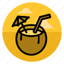 beach, beverage, cocktail, coconut, drink, juice, summer icon