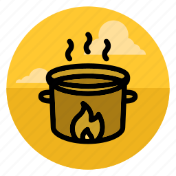 bowl, cooking, fire, flame, pan, saucepan, soup icon