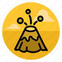 eruption, explosion, fountain, landscape, lava, mountain, volcano icon