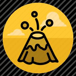 eruption, explosion, fountain, landscape, lava, mountain, volcano icon